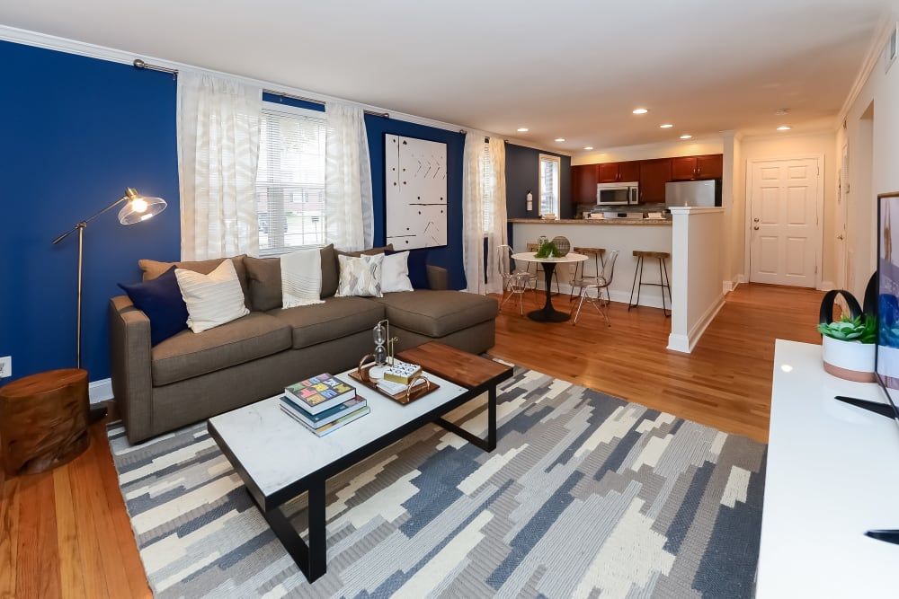 Cozy living room at The Villas at Bryn Mawr Apartment Homes