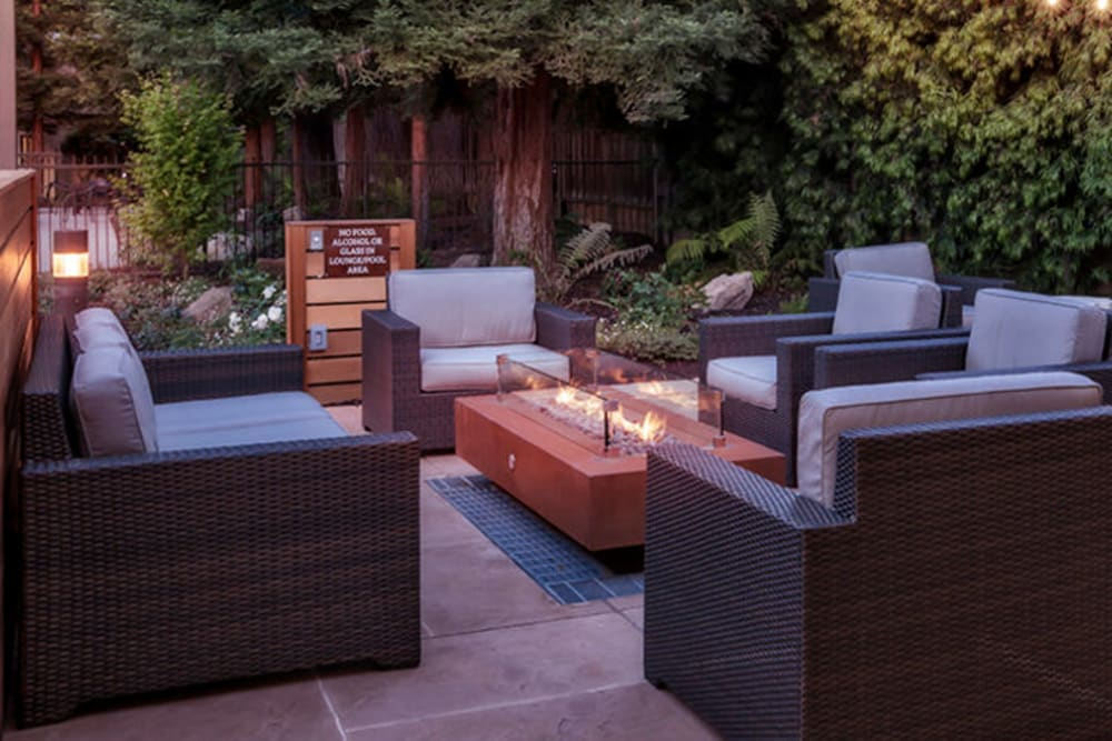 Outdoor lounge area at Brookdale Apartments in San Jose, California