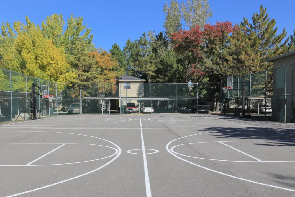 Onsite basketball court at Overlook Point Apartments in Salt Lake City, Utah