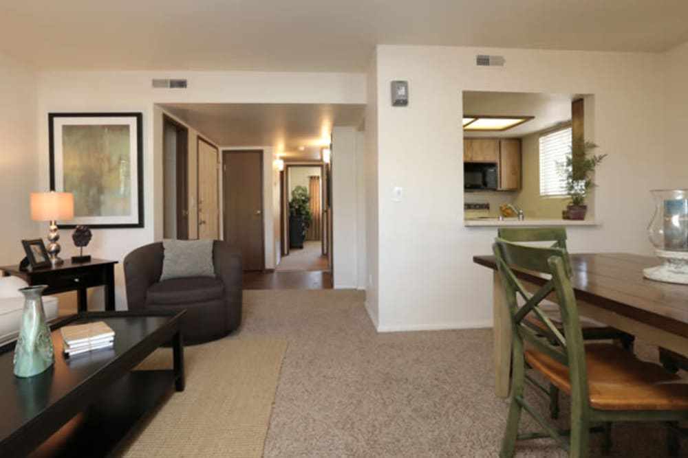 Open-concept layout with classic decor in a model home at Overlook Point Apartments in Salt Lake City, Utah
