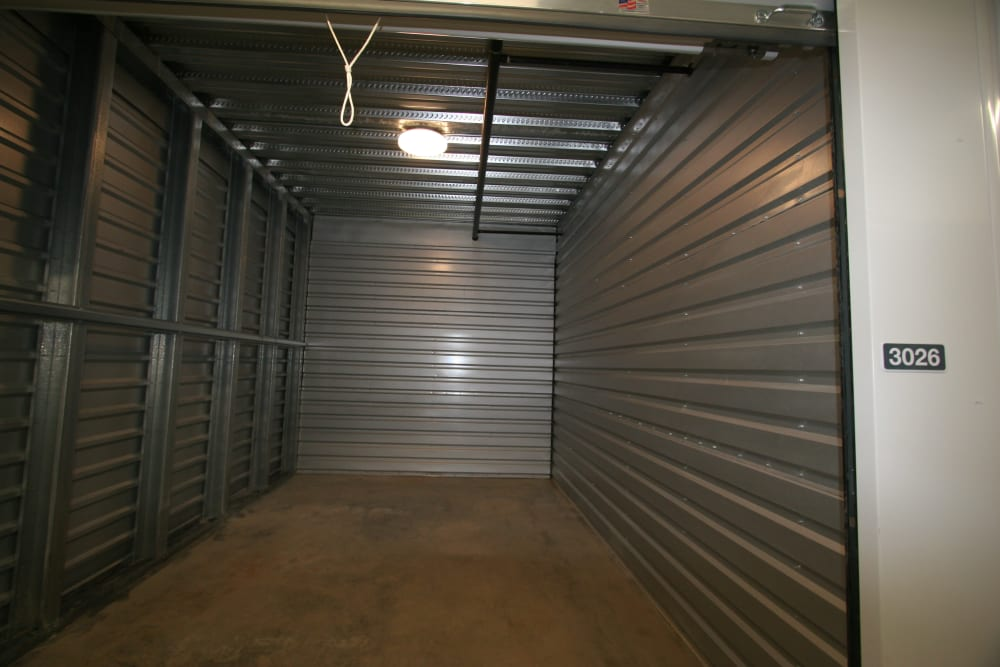 A large, open storage unit at Ballinger Heated Storage in Shoreline, Washington