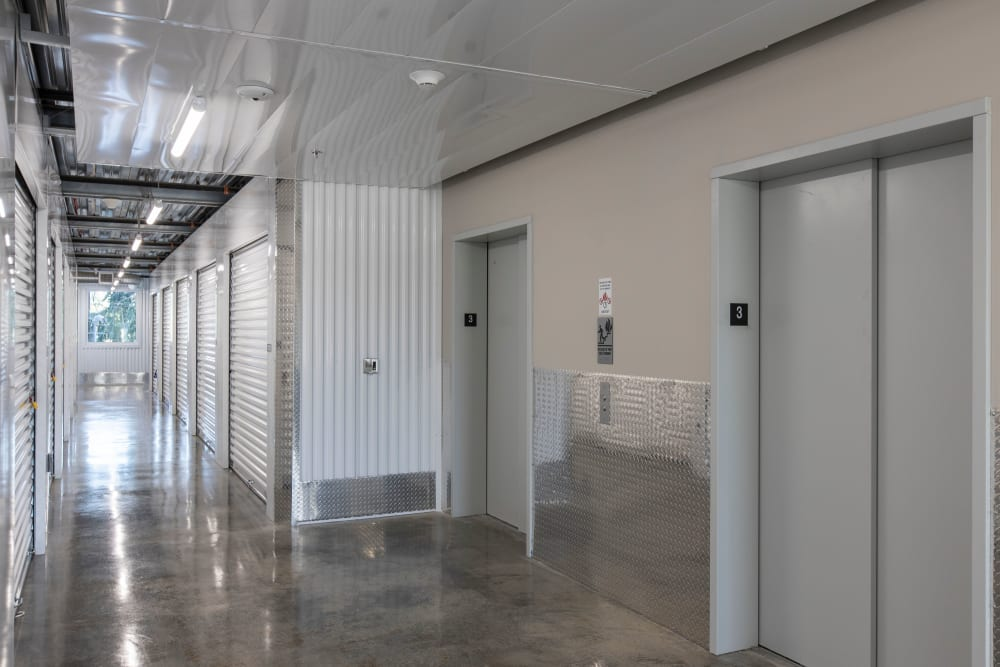 Interior storage units and elevators at Ballinger Heated Storage in Shoreline, Washington