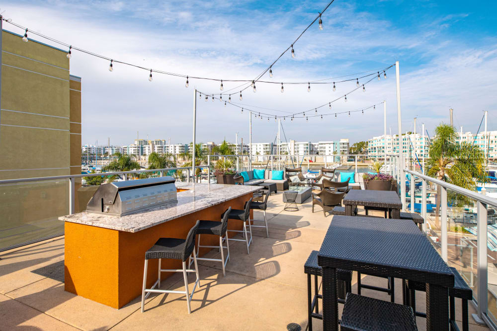 BBQ on the patio at Harborside Marina Bay Apartments in Marina del Rey, California
