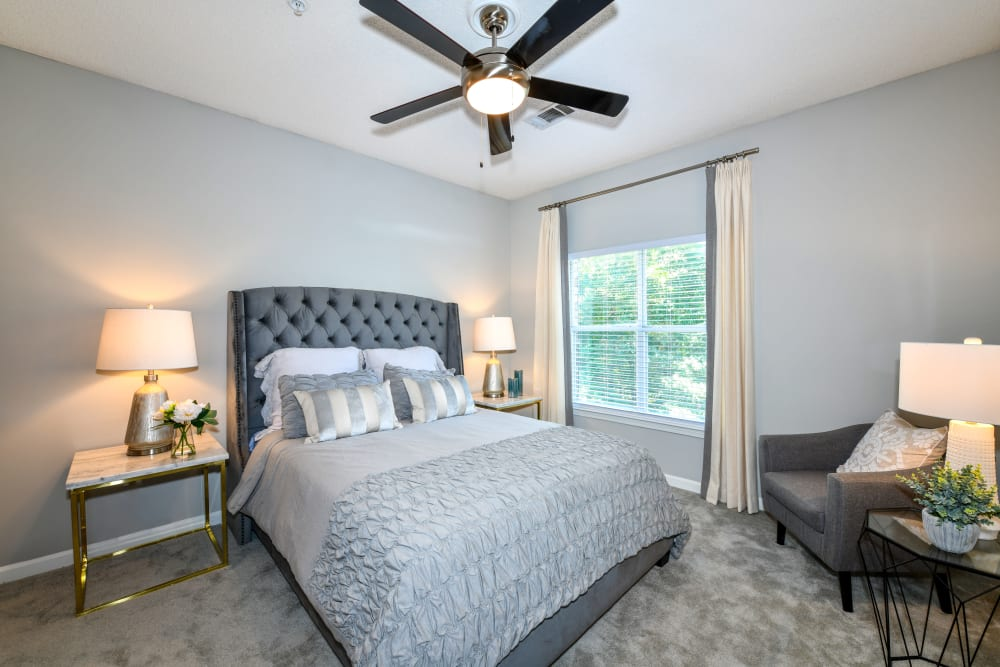 A furnished apartment bedroom at 860 South in Stockbridge, Georgia