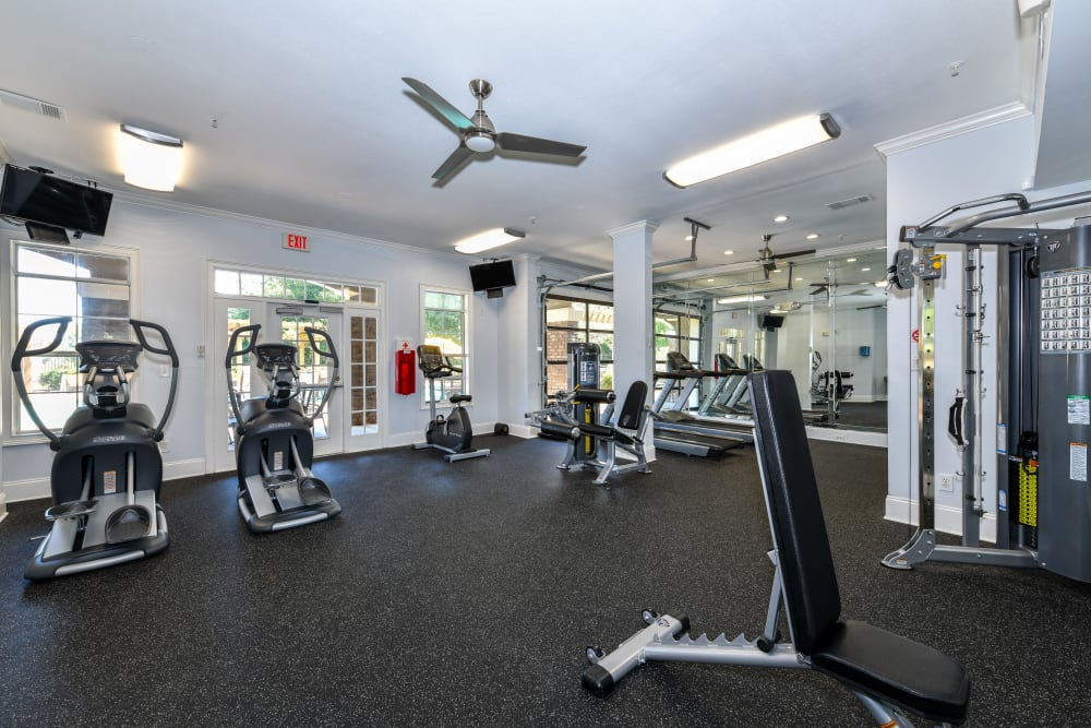 Exercise equipment in the gym at 860 South in Stockbridge, Georgia
