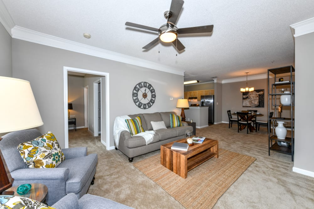 A furnished apartment living room at 860 South in Stockbridge, Georgia