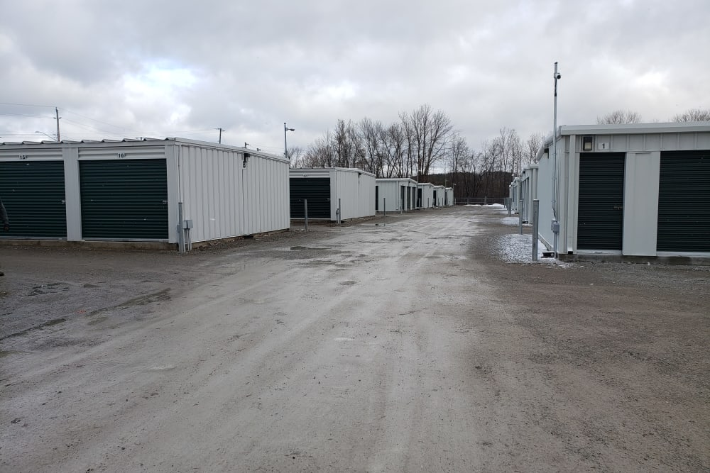 Exterior storage units at Apple Self Storage - Midland in Midland, Ontario