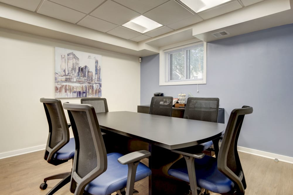 Meeting room in the business center for resident use at Heritage at Shaw Station in Washington, District of Columbia