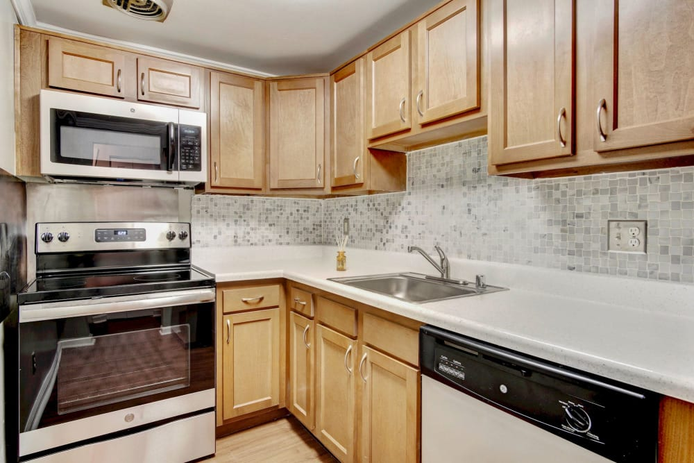 Quartz countertops in a model home's kitchen at Heritage at Shaw Station in Washington, District of Columbia