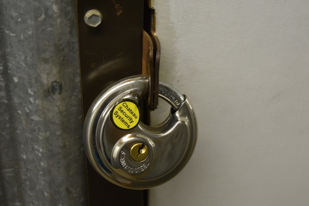 Lock on a storage unit at AAA Alliance Self Storage in Tempe, Arizona