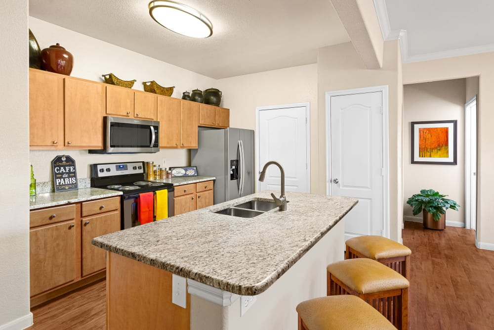 Kitchen at Onion Creek Luxury Apartments in Austin, Texas