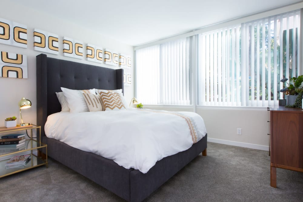 Plush carpeting in a model home's master bedroom at Sofi Belmont Glen in Belmont, California