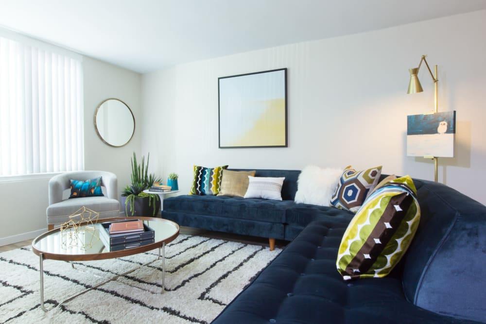 Comfortable decor in a model home's living area at Sofi Belmont Glen in Belmont, California