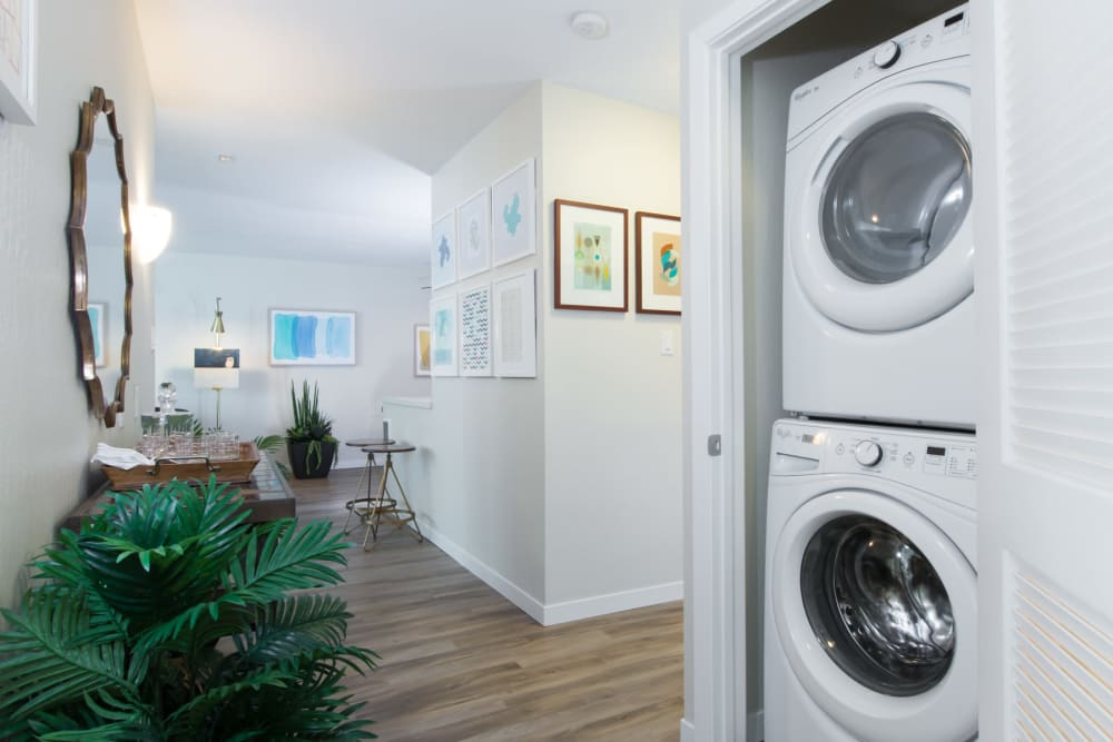 In-unit washer and dryer at Sofi Belmont Glen in Belmont, California