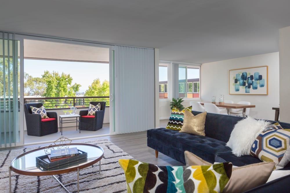 Spacious open-concept floor plan in a model home at Sofi Belmont Glen in Belmont, California