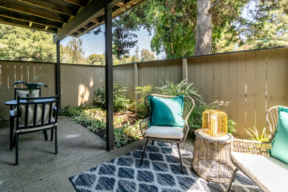 Large private patio outside a model home at Sofi Fremont in Fremont, California