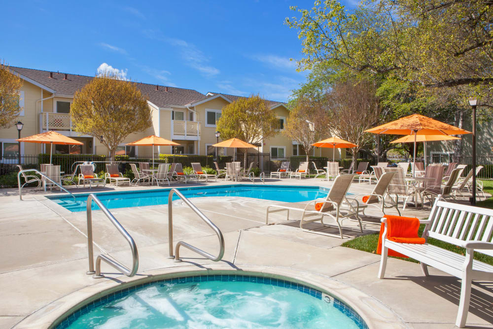 Resort-style swimming pool at Cypress Pointe Apartments in Gilroy, California