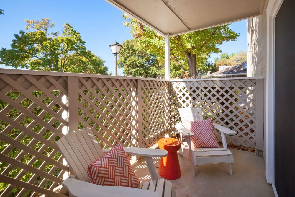 Private patio at Cypress Pointe Apartments in Gilroy, California