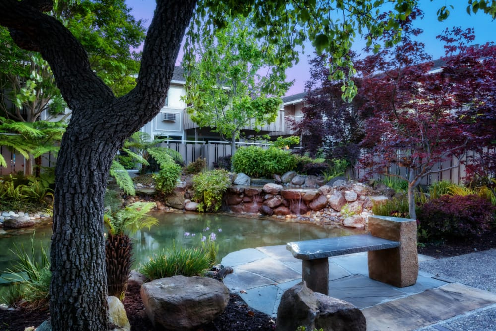 Beautiful landscaping at Greendale Apartments in Mountain View, California