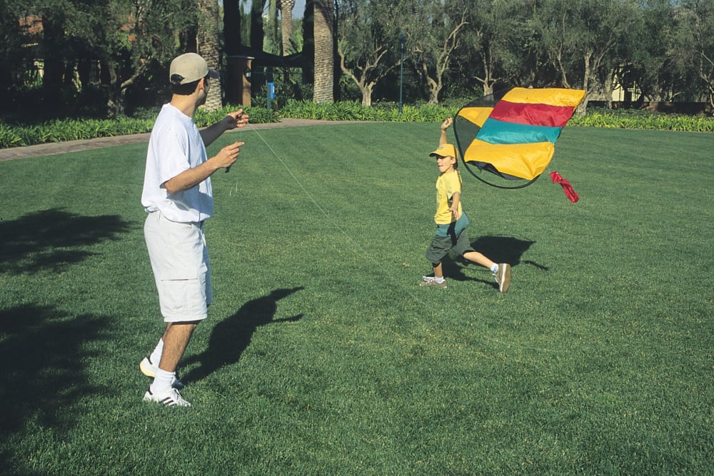 Residents flying a kite at Greendale Apartments in Mountain View, California