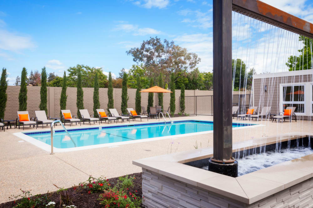 Swimming pool at Halford Gardens Apartments in Santa Clara, California