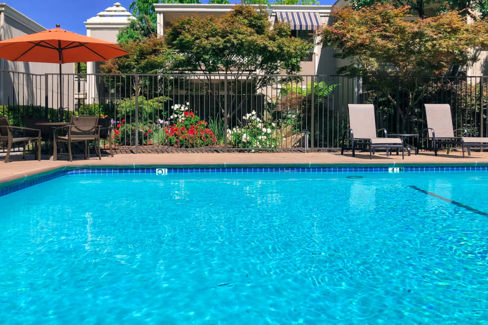 Resort-style swimming pool at Halford Gardens Apartments in Santa Clara, California