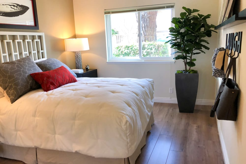 Bright bedroom at Halford Gardens Apartments in Santa Clara, California