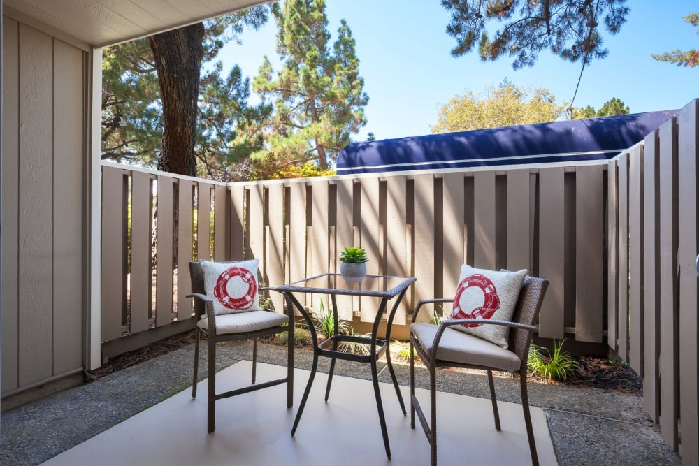 Private patio at Halford Gardens Apartments in Santa Clara, California