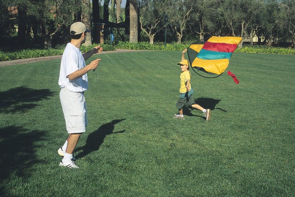 Resident flying a kite at Halford Gardens Apartments in Santa Clara, California