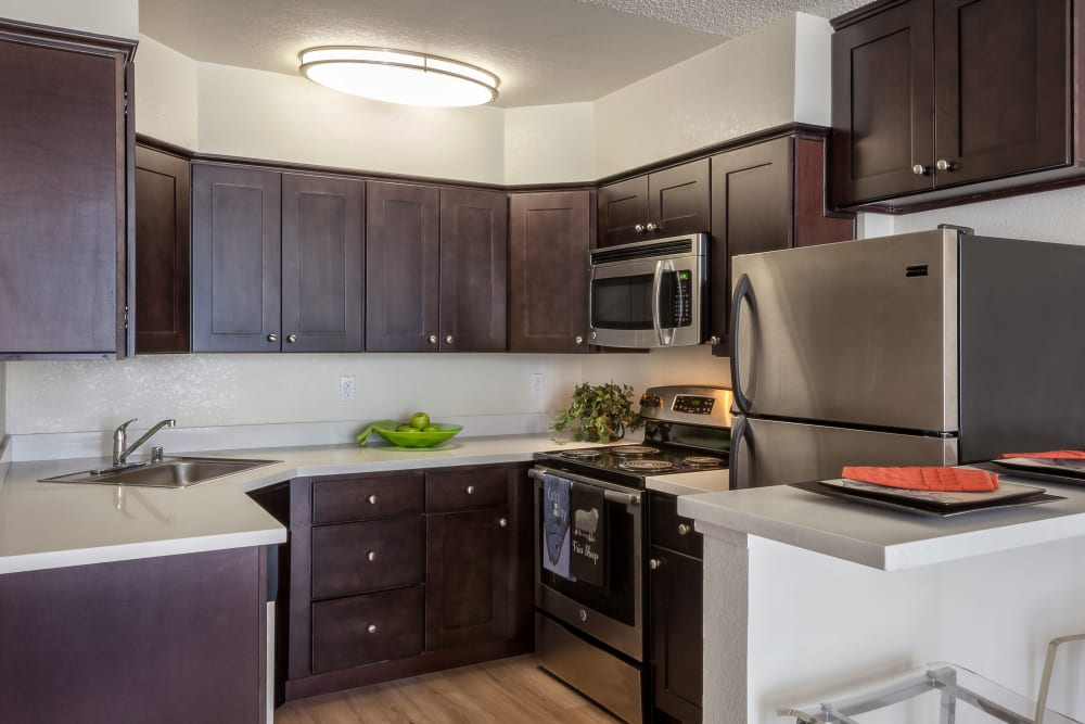 Kitchen with stainless steel appliances at Hillsborough Plaza Apartments in San Mateo, California