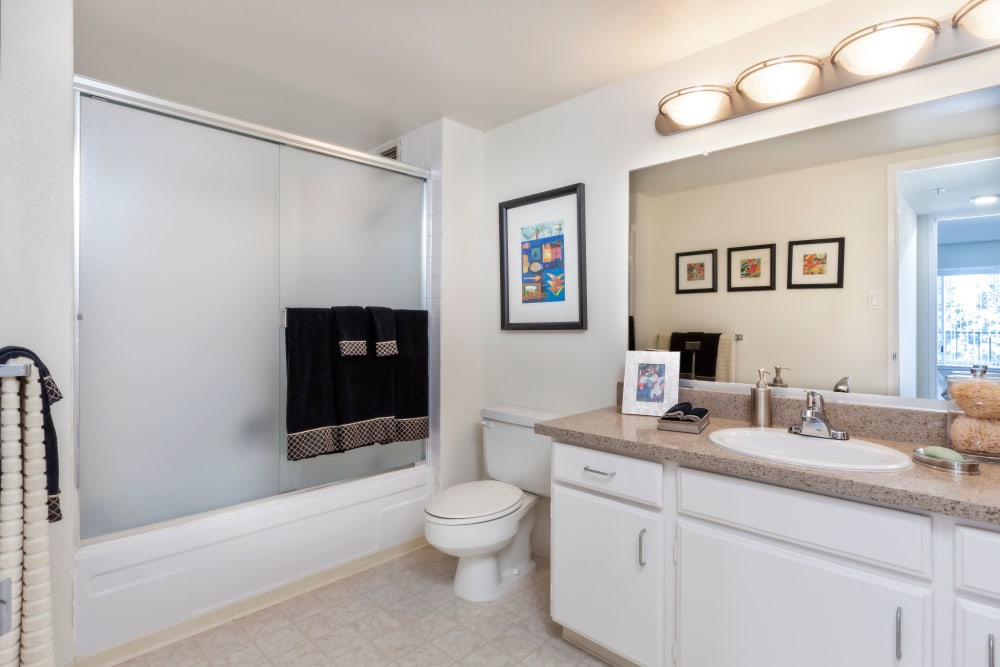 Bathroom at Hillsborough Plaza Apartments in San Mateo, California
