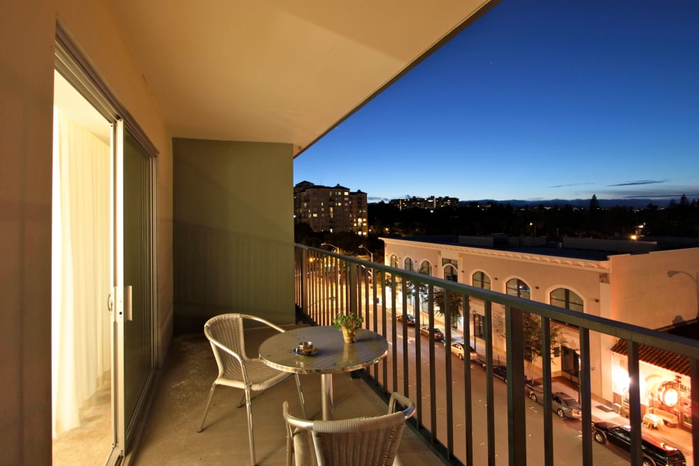 Private balcony at Hillsborough Plaza Apartments in San Mateo, California