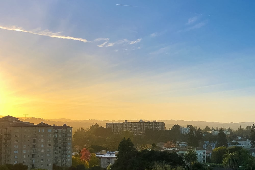 View of the sunrise in San Mateo, California from Hillsborough Plaza Apartments