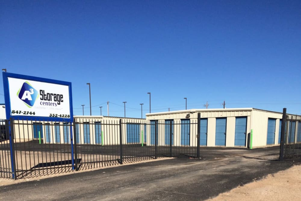 Front entrance to A3 Storage Centers in Andrews, Texas