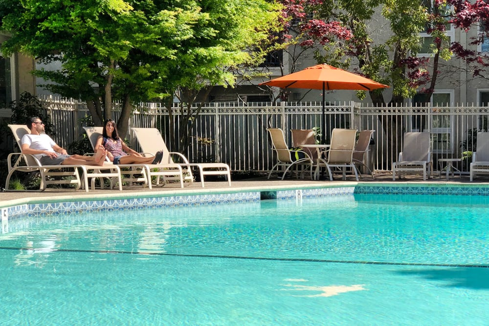 Sparkling, resort-style swimming pool at Newport Apartments in Campbell, California
