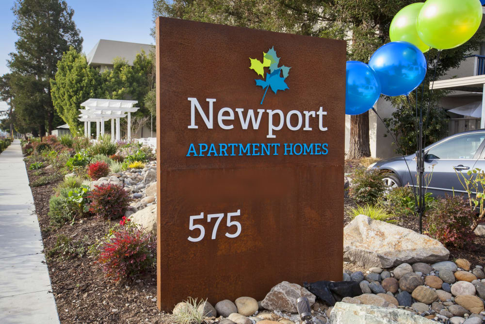 Newport Apartments' sign in Campbell, California