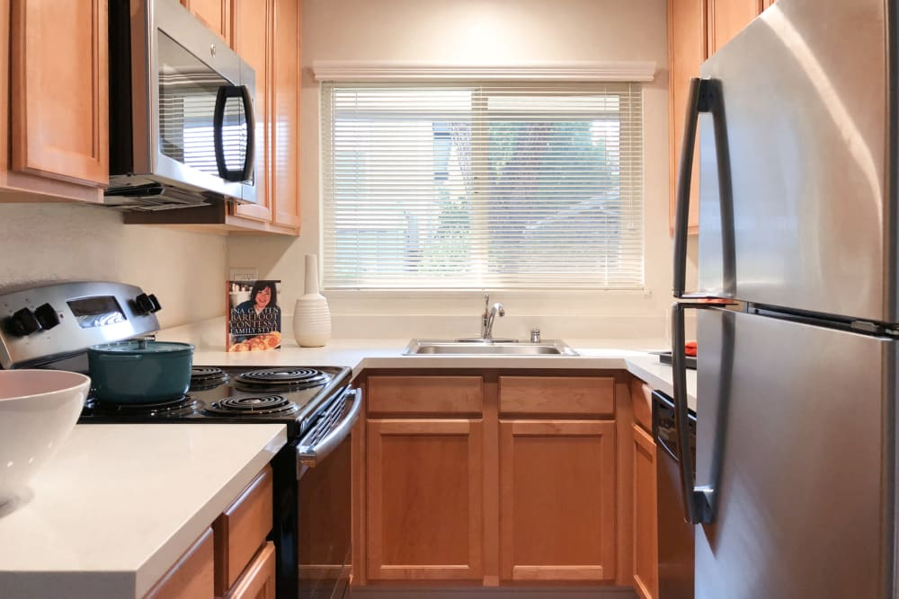 Bright kitchen at Parkwood Apartments in Sunnyvale, California