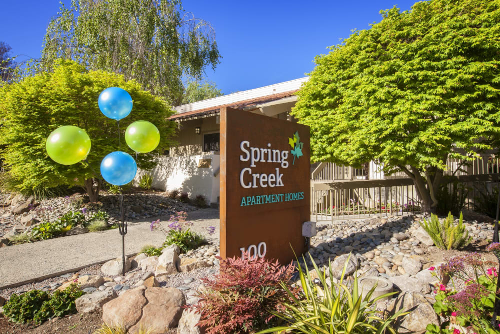 Sign to Spring Creek Apartments in Santa Clara, California