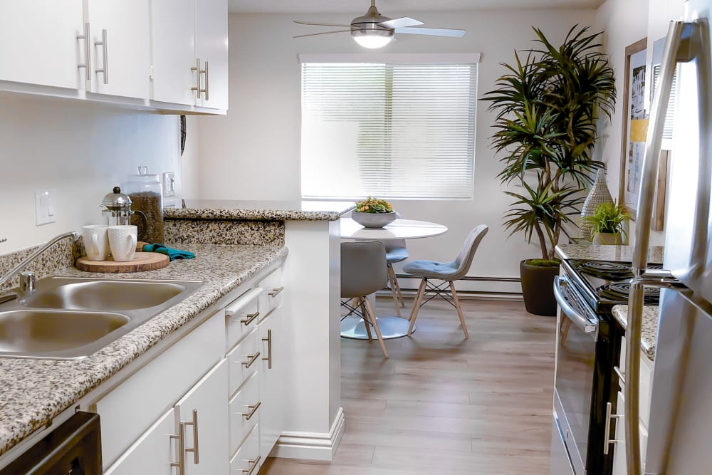 Kitchen with stainless steel appliances at Spring Creek Apartments in Santa Clara, California