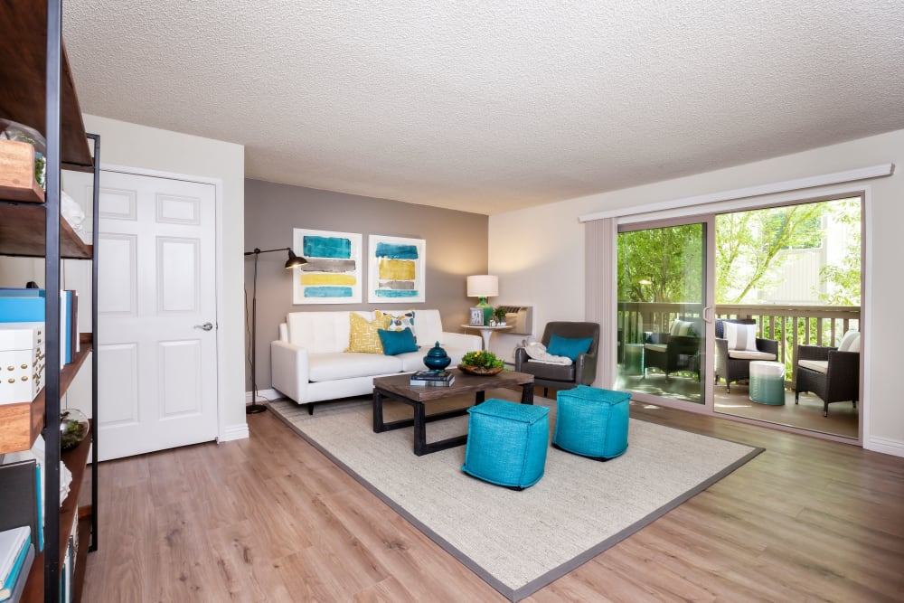 Spacious, bright living room at Spring Creek Apartments in Santa Clara, California