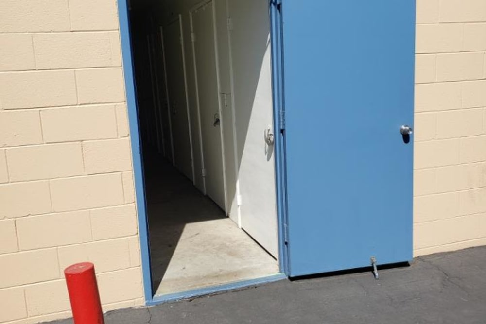 Hallway to get to the indoor storage units at AAA Alliance Self Storage in San Diego, California