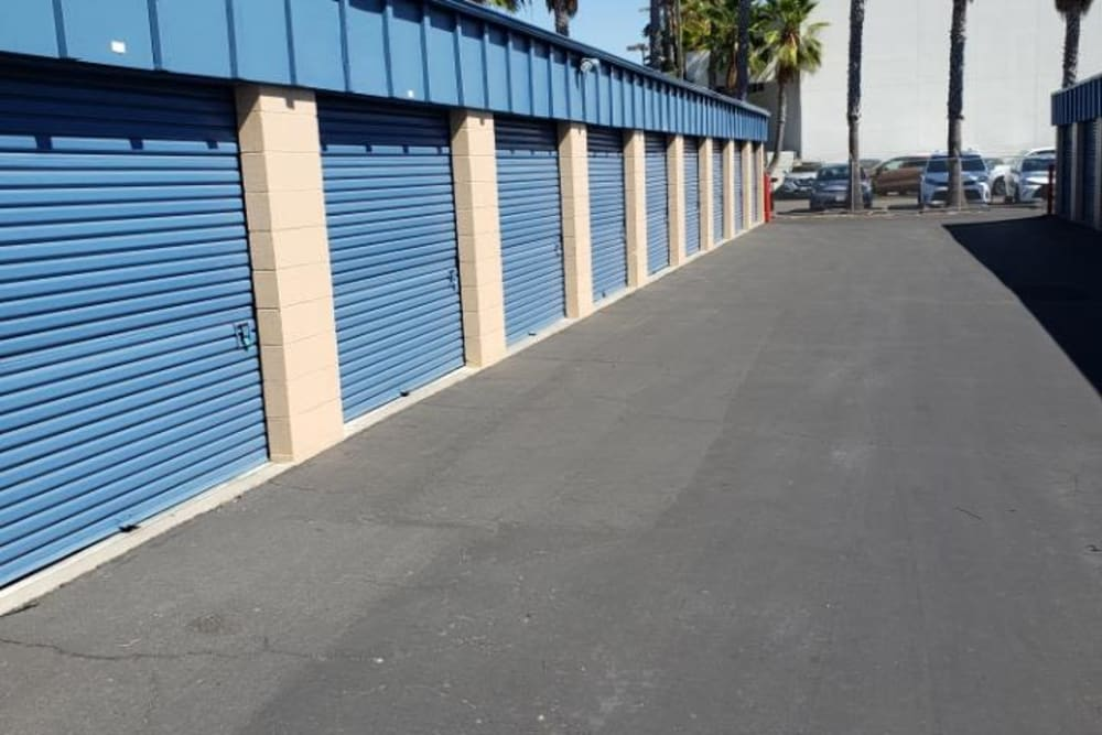 Driveway through the storage units at AAA Alliance Self Storage in San Diego, California