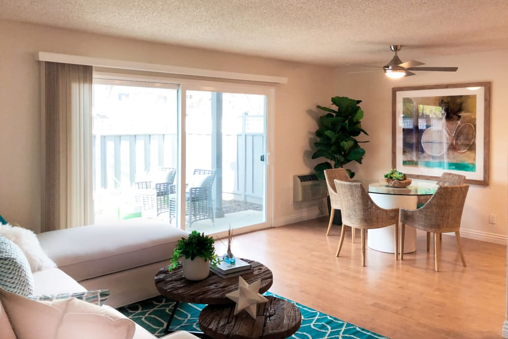 Living room at Village Green Apartments in Cupertino, California