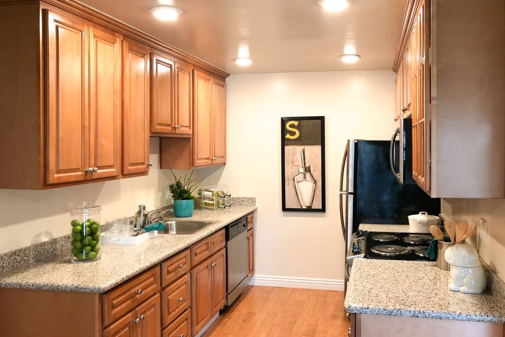 Kitchen amenities at Village Green Apartments in Cupertino, California