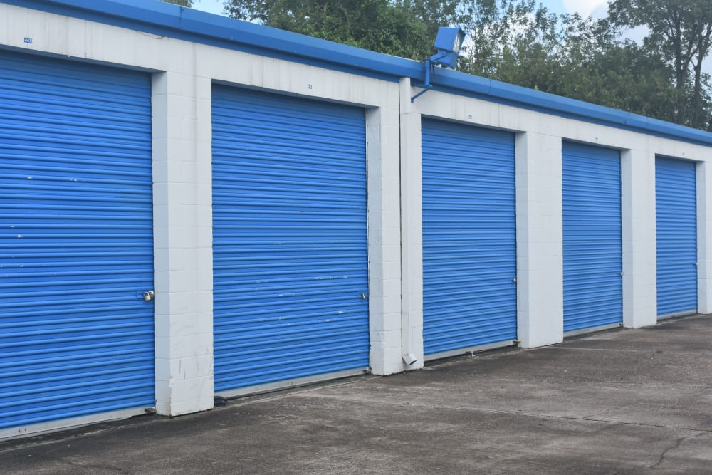 Row of outdoor storage units at AAA Alliance Self Storage in Houston, Texas