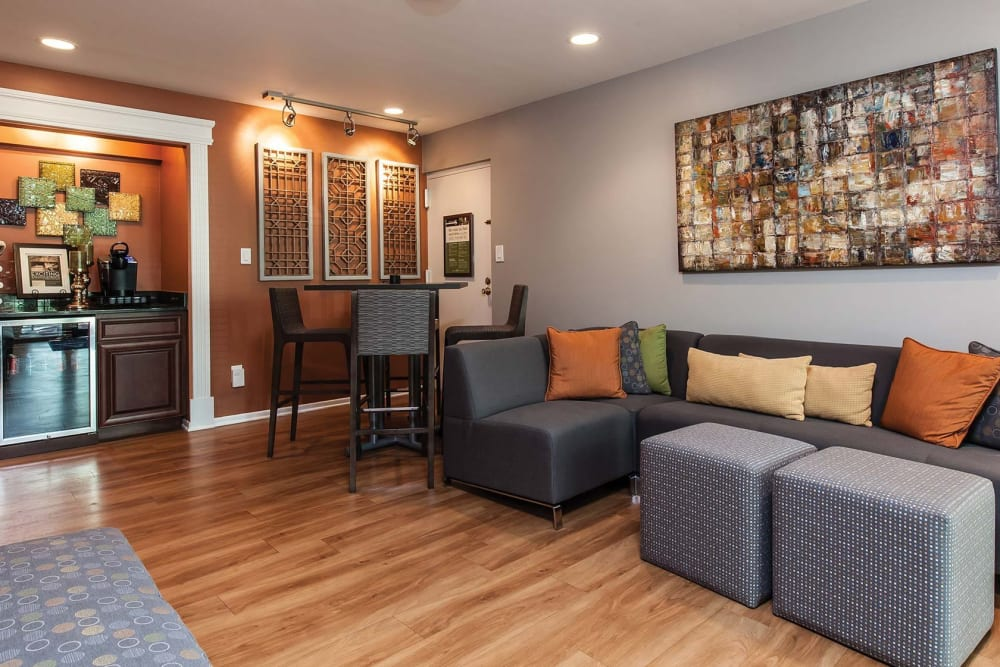 Comfortable seating in the leasing office at The Timbers at Long Reach Apartments in Columbia, Maryland