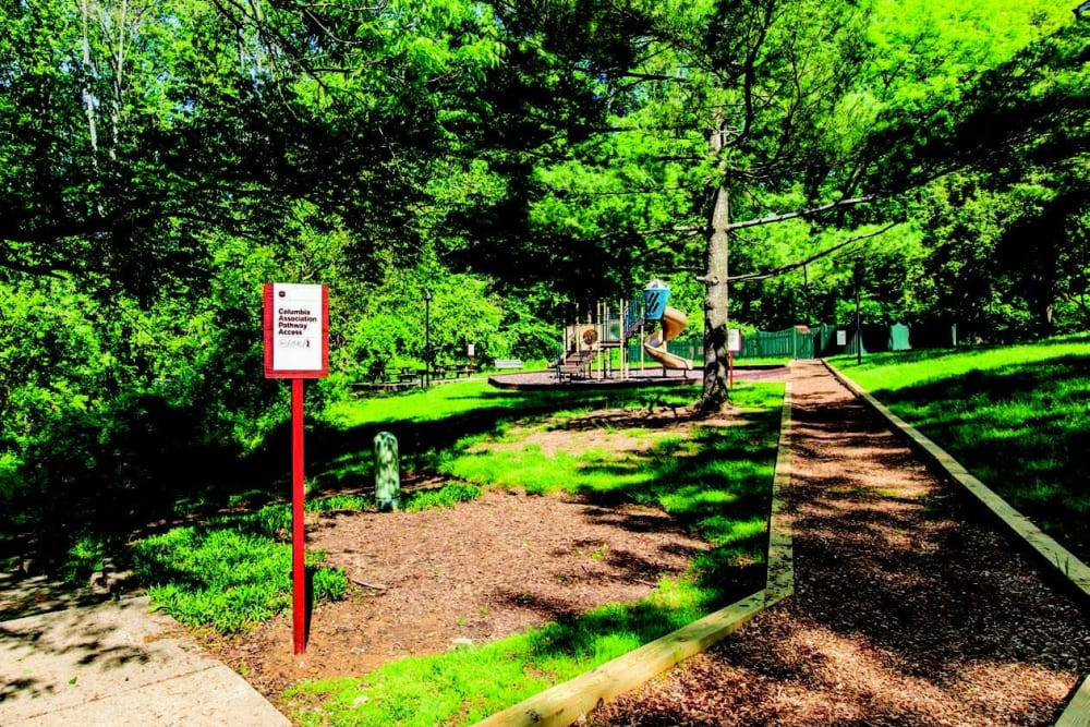 Trails galore at The Timbers at Long Reach Apartments in Columbia, Maryland