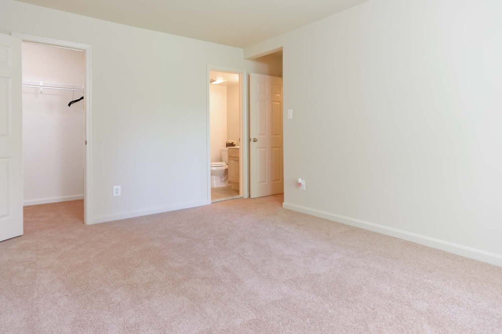 Large bedroom with plush carpeting in an apartment home at The Timbers at Long Reach Apartments in Columbia, Maryland