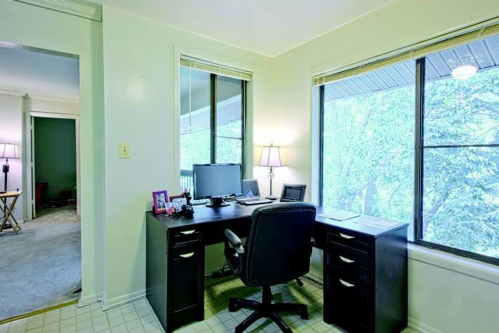 Home office setup in a model home at The Timbers at Long Reach Apartments in Columbia, Maryland