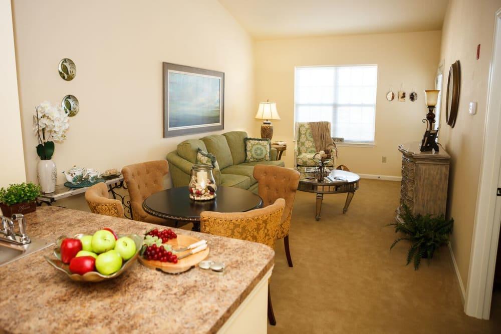 A living room view at Harmony at Falls Run in Fredericksburg, Virginia